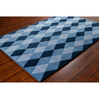 Stella Patterned Contemporary Wool Blue Area Rug Rug Size: 8 x 10