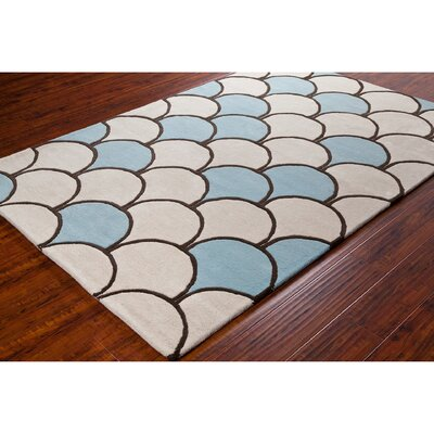Stella Patterned Contemporary Wool Cream/Blue Area Rug Rug Size: 5 x 76