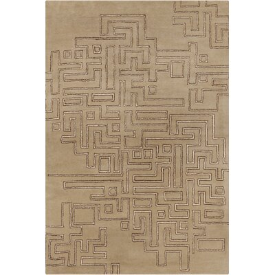 Stella Patterned Contemporary Wool Tan Area Rug Rug Size: 8 x 10