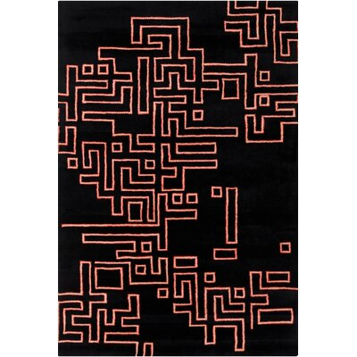 Stella Patterned Contemporary Wool Black/Orange Area Rug Rug Size: 5 x 76