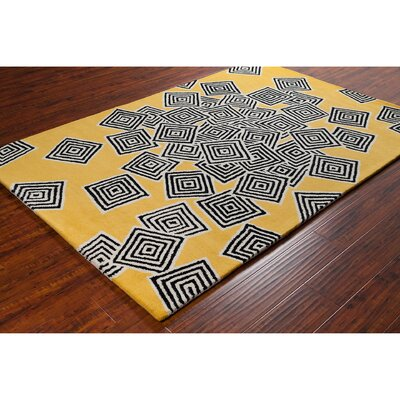 Stella Patterned Yellow & Black Area Rug Rug Size: 8 x 10