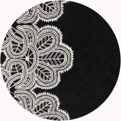 Areyanna Cactus Black/White Area Rug Rug Size: Round 79
