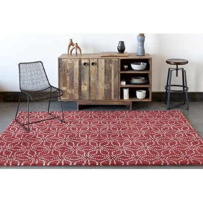 Stella Patterned Contemporary Wool Red/White Area Rug Rug Size: 8 x 10