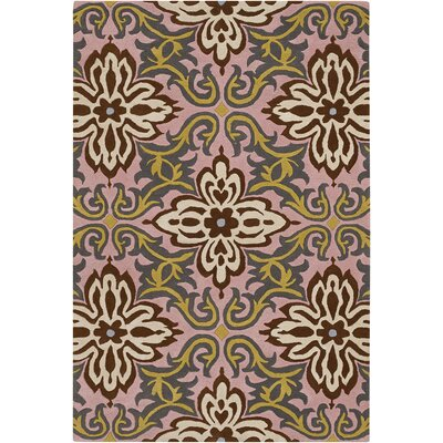 Burchell Gren/Pink Temple Area Rug Rug Size: Rectangle 5 x 76