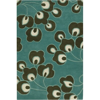 Burchell Bright Buds Blue/Black Area Rug Rug Size: Rectangle 5 x 76
