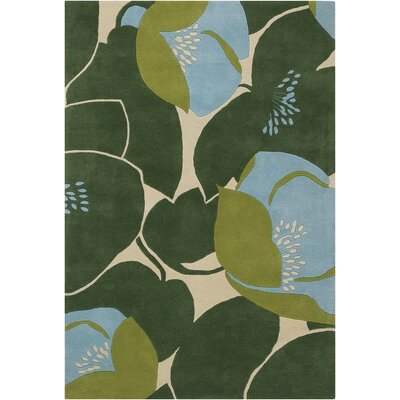 Burchell Poppy Green Area Rug Rug Size: Rectangle 5 x 76