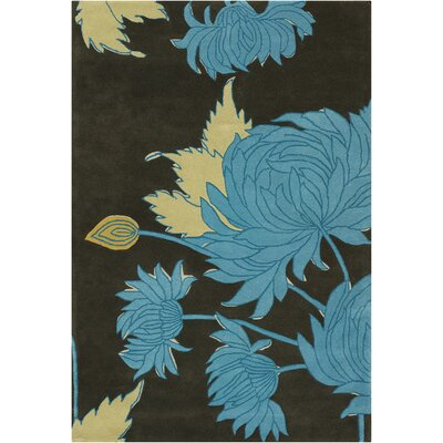 Burchell Black/Gray Chrysanthemum Area Rug Rug Size: Rectangle 5 x 76