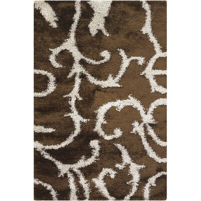 Fola Brown/White Area Rug Rug Size: 79 x 106