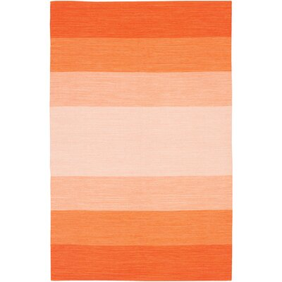 Elbeni Hand Woven Cotton Orange Area Rug Rug Size: 5 x 76