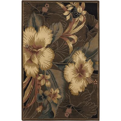 Kam Taupe Floral Area Rug Rug Size: 5 x 76