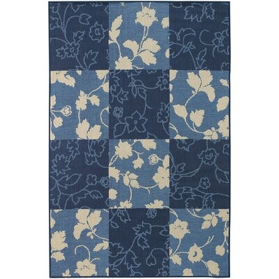 Leibowitz Blue Floral Area Rug Rug Size: Rectangle 52 x 75