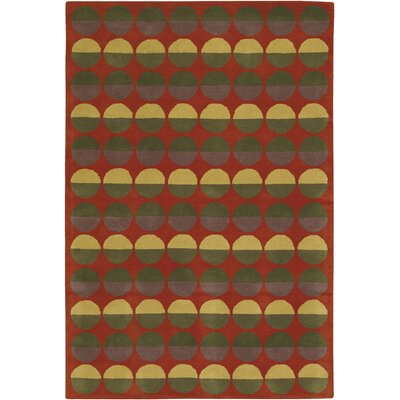 Rowe Red Circle Area Rug Rug Size: Runner 26 x 76