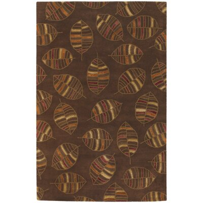 Donegal Brown Leaf Area Rug Rug Size: Round 79
