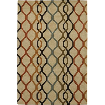 Rowe Chain Tan Area Rug Rug Size: 79 x 106