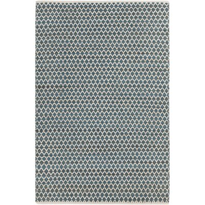 Costa Hand-Woven Blue/White Area Rug Rug Size: 79 x 106