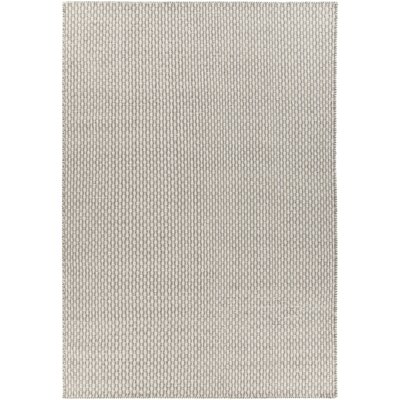 Charity Hand-Woven Gray/White Area Rug Rug Size: 79 x 106