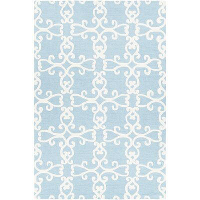 Ruggiero Hand-Tufted Blue/Cream Area Rug Rug Size: 5 x 76