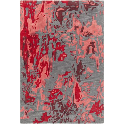 Steves Hand-Tufted Red/Charcoal Area Rug Rug Size: 79 x 106
