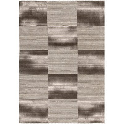 Roxanne Hand-Knotted Cream/Brown Area Rug Rug Size: 79 x 106