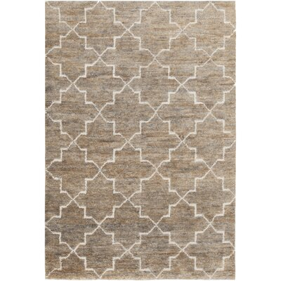 Nesco Hand-Knotted Light Brown Area Rug Rug Size: 5 x 76