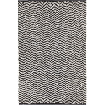 Salley Hand-Woven Gray/Black Area Rug Rug Size: 79 x 106
