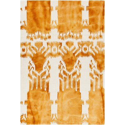 Cailin Hand-Tufted Orange/Beige Area Rug Rug Size: 79 x 106