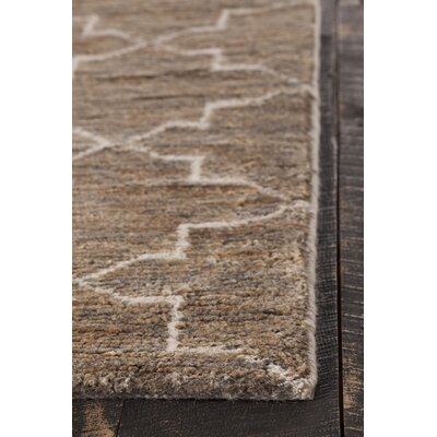 Levine Hand-Knotted Dark Brown Area Rug Rug Size: 79 x 106