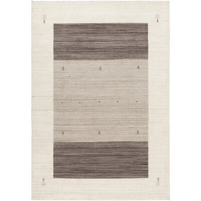 Roxanne Hand-Knotted Wool Cream/Brown Area Rug Rug Size: 79 x 106