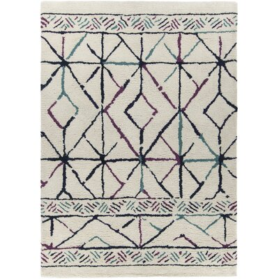 Arcon Hand-Woven Cream Area Rug Rug Size: 79 x 106
