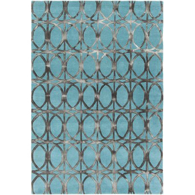 Fran Hand-Tufted Teal/Charcoal Area Rug Rug Size: 79 x 106