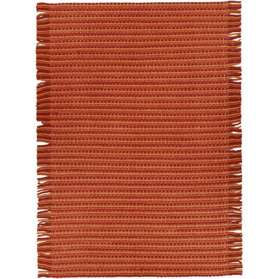 Adaline Hand-Woven Red/Orange Area Rug Rug Size: 79 x 106