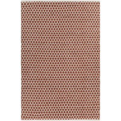 Brassard Hand-Woven Rust/White Area Rug Rug Size: 5 x 76
