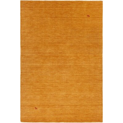 Stockstill Hand-Knotted Gold Area Rug Rug Size: Rectangle 5 x 76