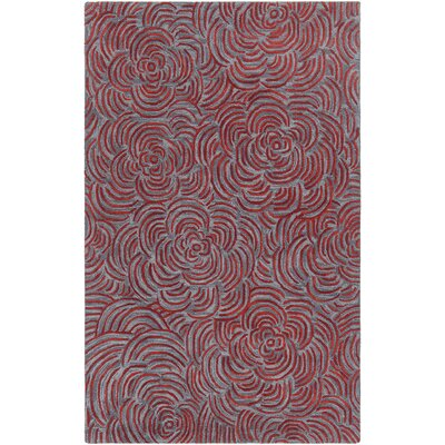 Leia Hand-Tufted Red/Gray Area Rug Rug Size: 79 x 106
