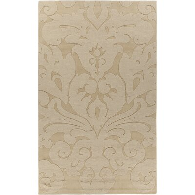 Raya Contemporary Wool Gold Area Rug Rug Size: Round 8