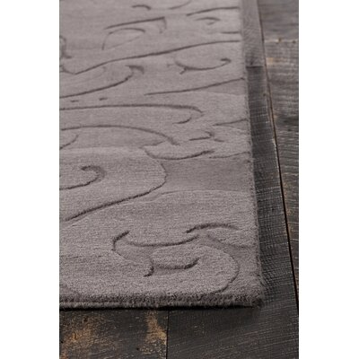 Raya Hand-Tufted Charcoal Area Rug Rug Size: Round 8