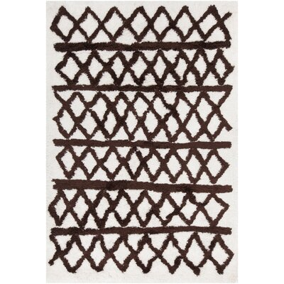 Manolla Hand-Woven White/Brown Area Rug Rug Size: 79 x 106