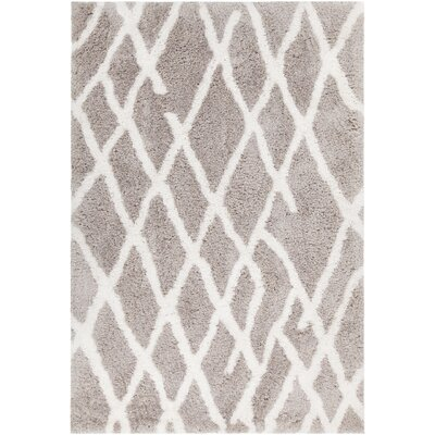 Manolla Hand-Woven Gray/White Area Rug Rug Size: 79 x 106