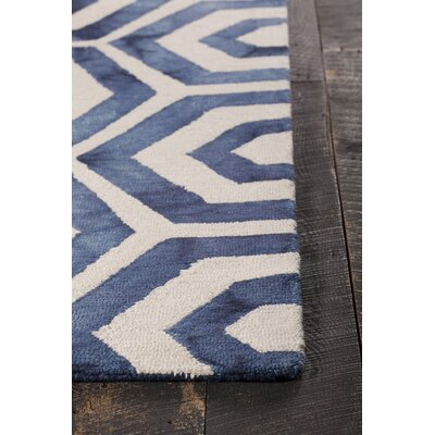 Elvo Patterned Rectangular Contemporary Wool Blue/White Area Rug Rug Size: 79 x 106
