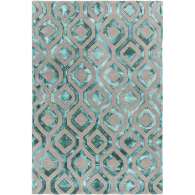 Fran Hand-Tufted Teal/Gray Area Rug Rug Size: 79 x 106