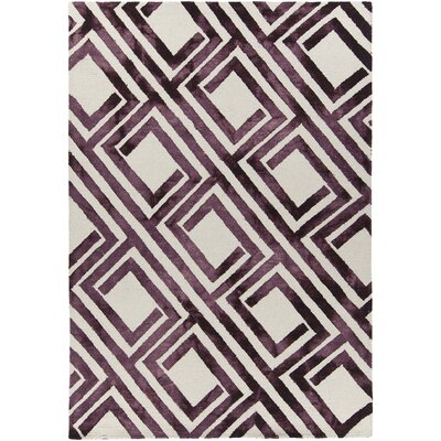 Elvo Hand-Tufted Purple/White Area Rug Rug Size: 79 x 106