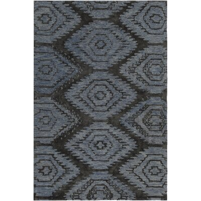 Domenic Hand-Tufted Blue/Black Area Rug Rug Size: 79 x 106