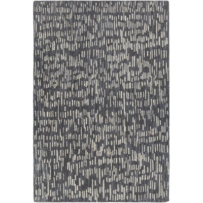 Kirtley Hand-Woven Black/Gray Area Rug Rug Size: 79 x 106