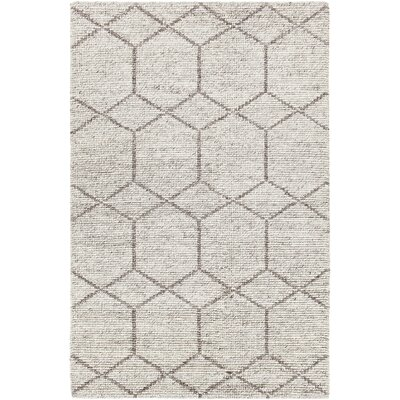 Saltzman Hand-Woven Silver Area Rug Rug Size: 79 x 106