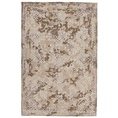Collinsburg Hand-Tufted Brown/White Area Rug Rug Size: 79 x 106