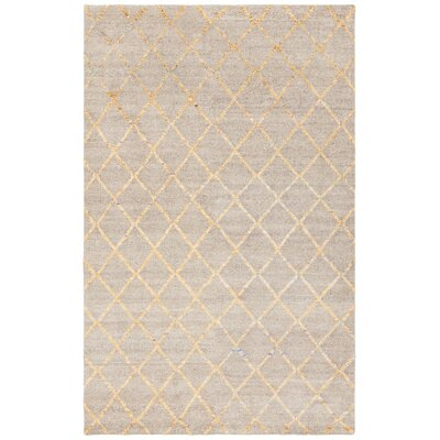 Aarushi Hand-Knotted Beige/Gold Area Rug Rug Size: 79 x 106