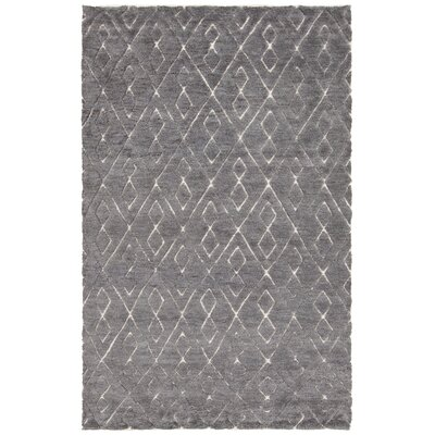 Catalina Hand-Knotted Dark Gray Area Rug Rug Size: 79 x 106