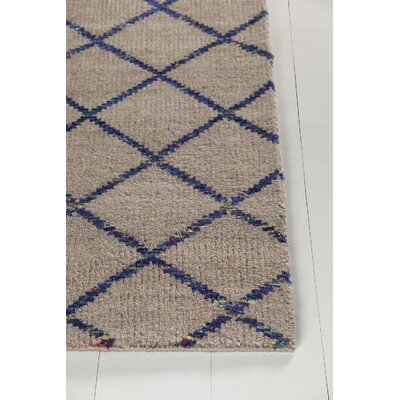 Aarushi Hand-Knotted Beige/Blue Area Rug Rug Size: 79 x 106