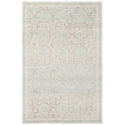 Denwood Hand-Knotted Cream/Blue Area Rug Rug Size: 5 x 76