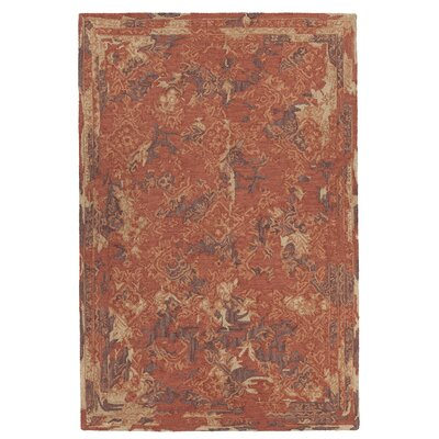 Collinsburg Hand-Tufted Rust/Brown Area Rug Rug Size: 79 x 106